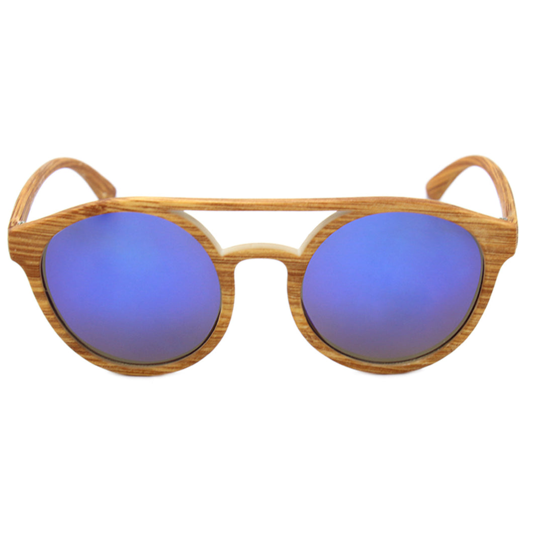 Unisex Round Sunglasses Hampton Wood Grain