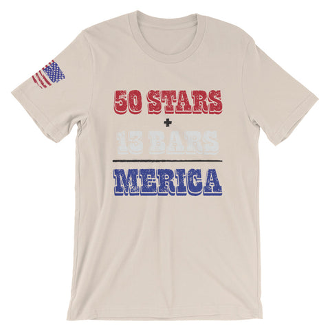 50 Stars + 13 Bars = Merica (Short-Sleeve Unisex T-Shirt)