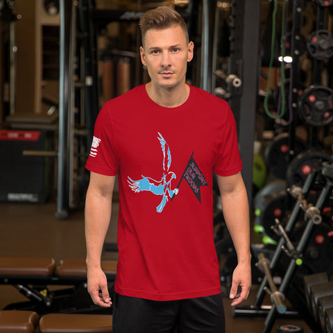 Eagle w/Support our troops guidon (Short-Sleeve Unisex T-Shirt)
