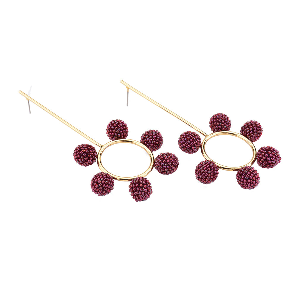 Daniela Salcedo x Mishky Cosmos Earrings - Burgundy/Gold - Ethereal Shop