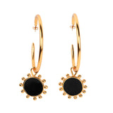 Ajedrez Disk Hoops Gold Earrings