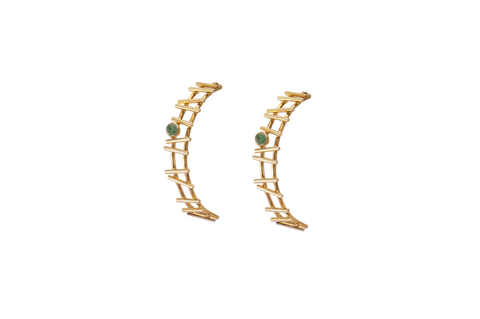 Abstract Gold & Emerald Earrings