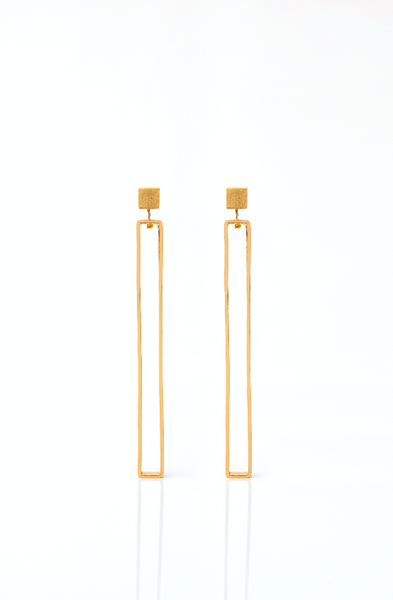 Brass Goldplated Large Rectangle Earrings