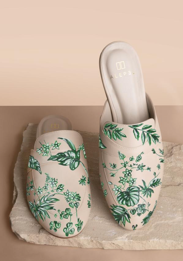 Emerald Jungle Beige Mules