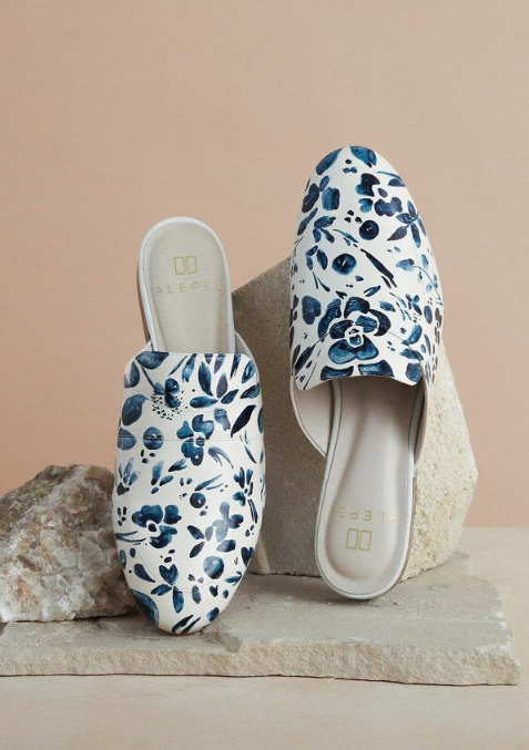 Denim Floral White Mules