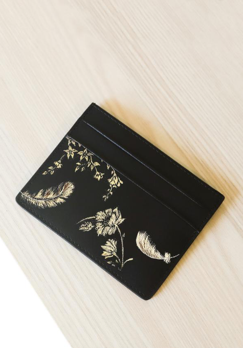 Gold Feathers Card holder
