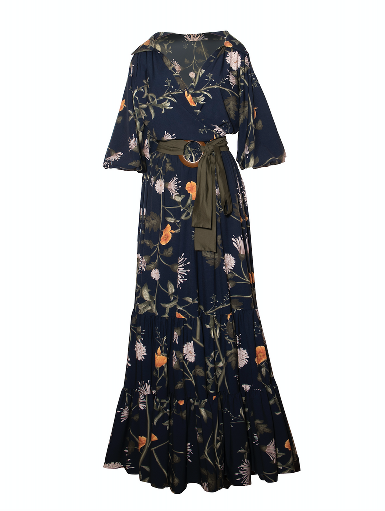 navy blue floral Azucena Dress