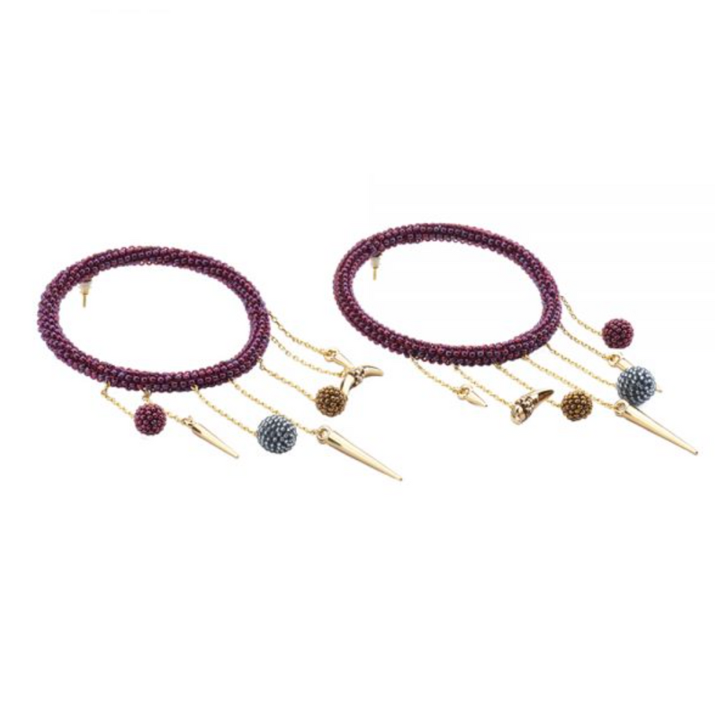 Daniela Salcedo x Mishky - Lluvia Earrings - Burgundy/Gray/Brown/Gold - Ethereal Shop