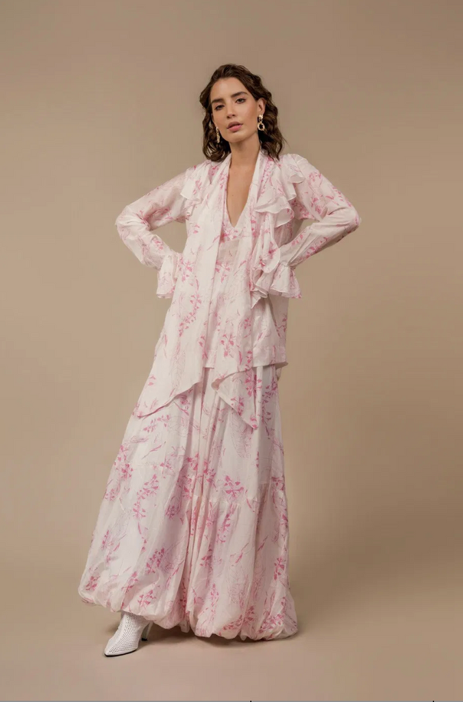 Flamenco Blouse Pink Birds - Ethereal Shop