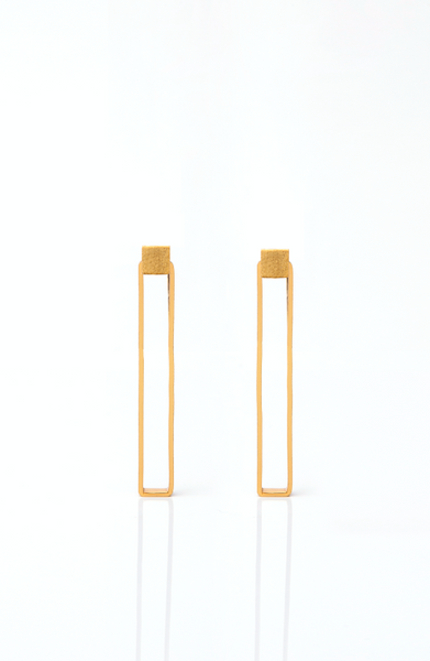 Brass Goldplated Midi Rectangle Earrings