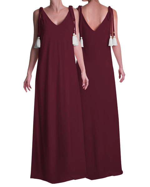 Maxi Tassel Dress Burgundy