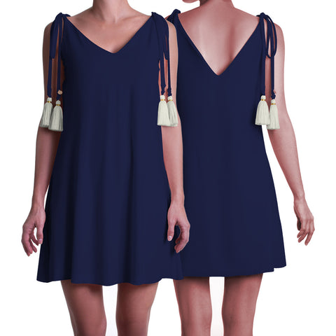Short Tassel Dress Navy Blue