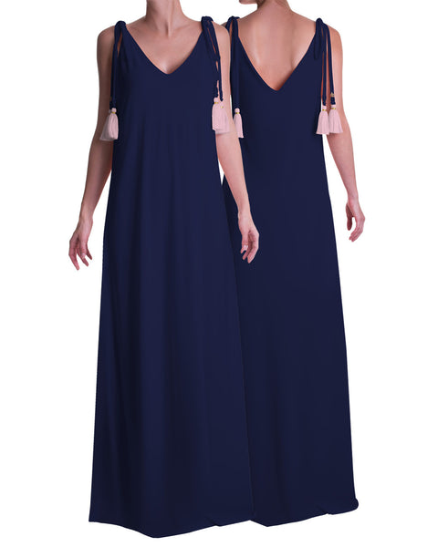 Maxi Tassel Dress Navy Blue