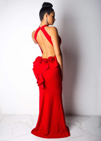 Rose Red Open Back Gown