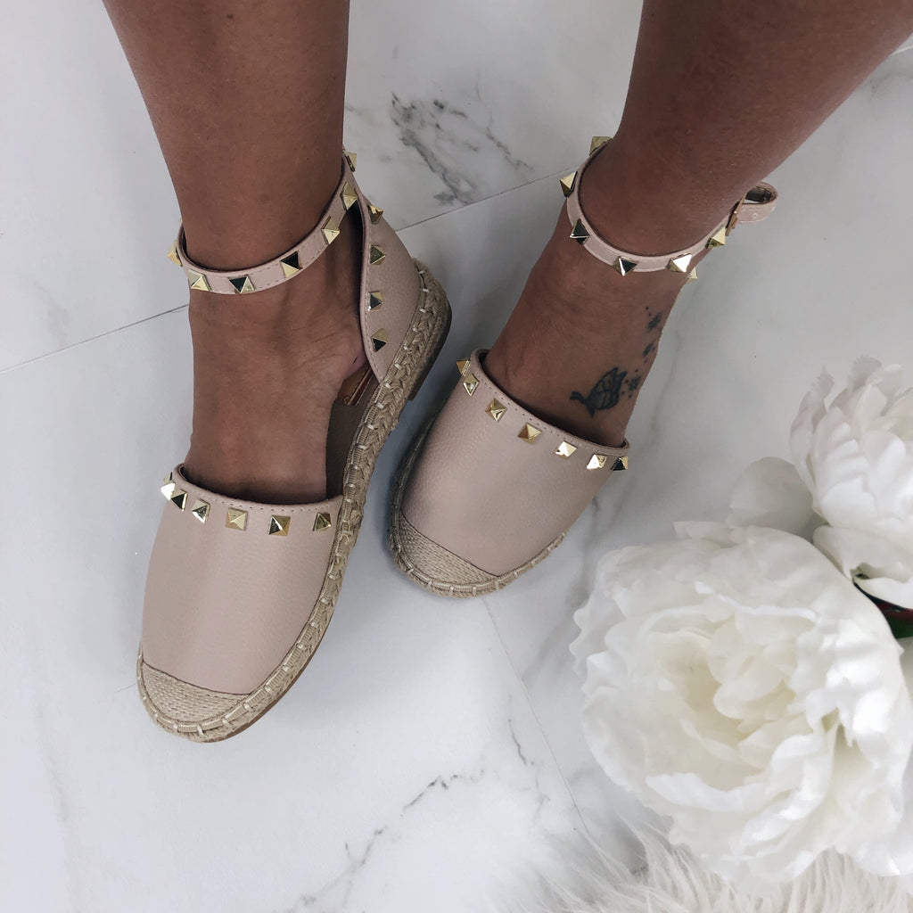 Chantel Blush Studded Flats