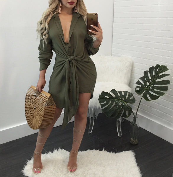 Daysy Tie Front Blouse Mini