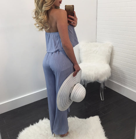 Serena Striped Off the Shoulder Slit Jumpsuit
