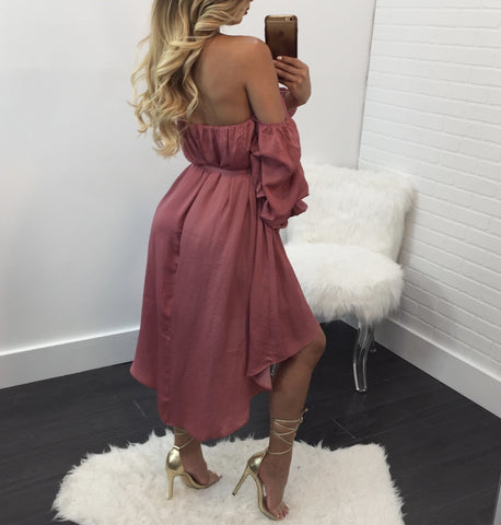 Heather Off the Shoulder Belted Mini