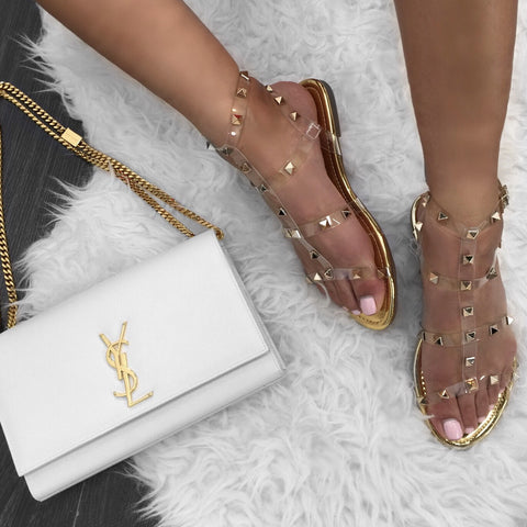 Rock Stud Gold Flats