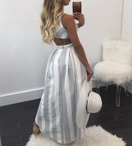 Lilly High Low Cutout Striped Maxi