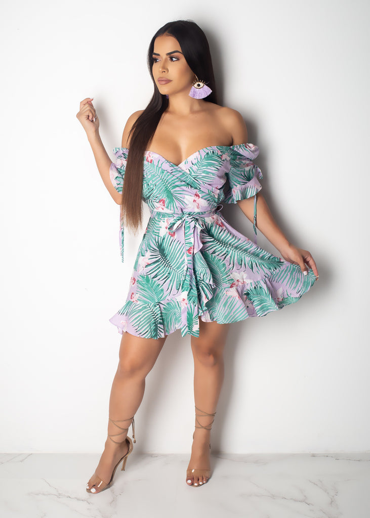 Leaf And Flower Print Mini Dress