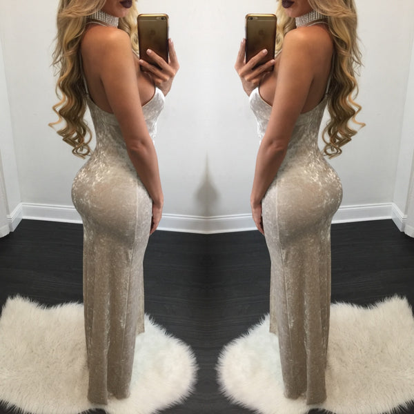 Erica Crushed Velvet Maxi Dress - Diva Boutique Online - 2