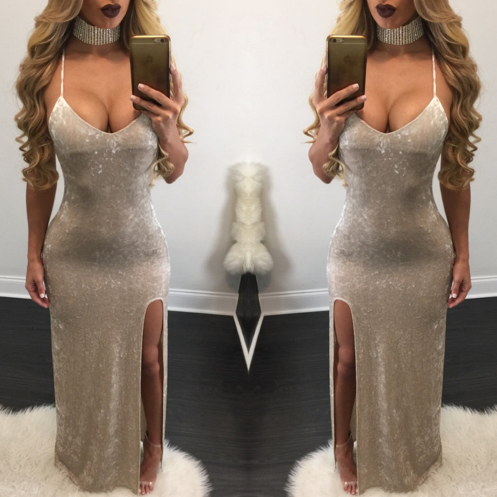 Erica Crushed Velvet Maxi Dress - Diva Boutique Online - 1
