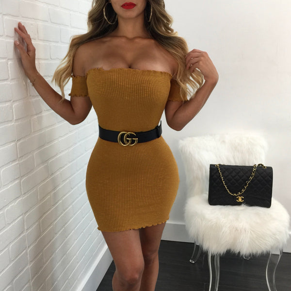 Lori Off the Shoulder Ribbed Mini