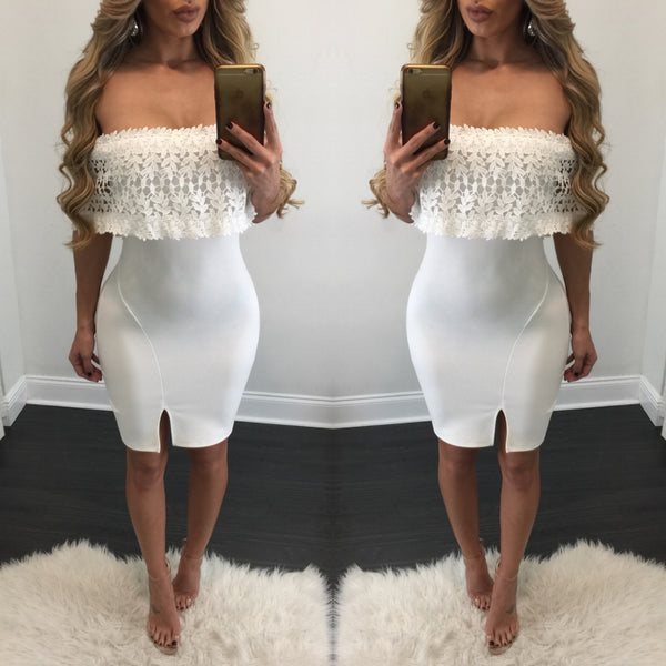 Helena Off the Shoulder Crochet Midi Dress - Diva Boutique Online - 1