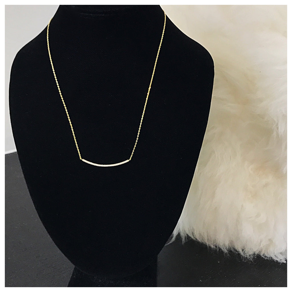 Curved Bar Rhinestone Necklace - Diva Boutique Online - 1