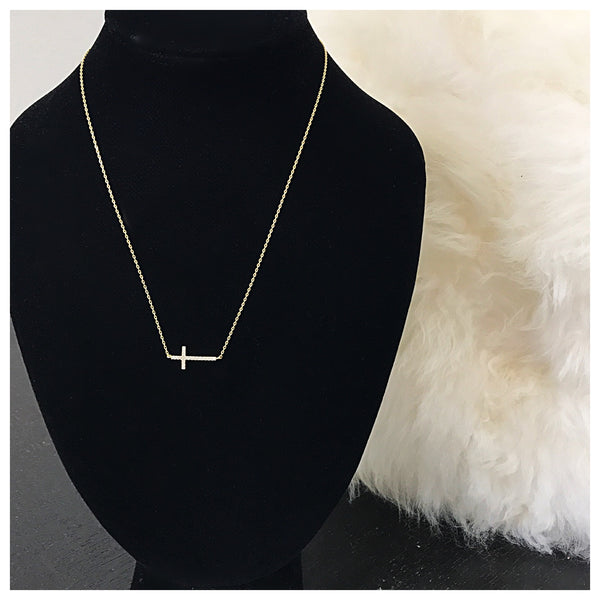 Side Cross Necklace - Diva Boutique Online - 1