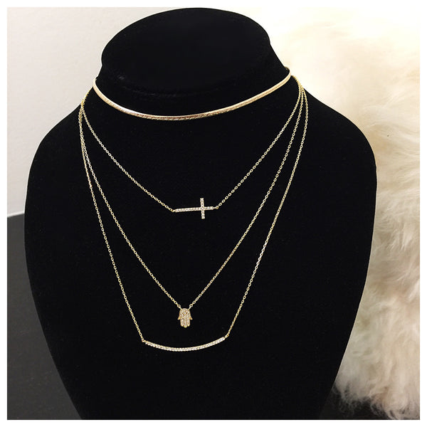Curved Bar Rhinestone Necklace - Diva Boutique Online - 2