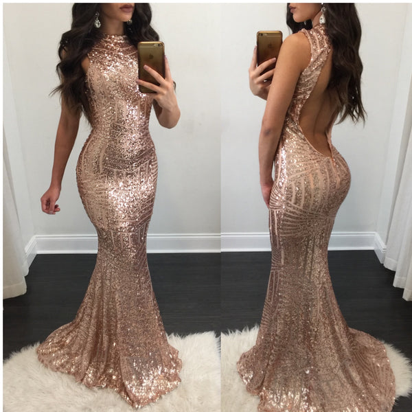 Monica Open Back Sequin Gown - Diva Boutique Online