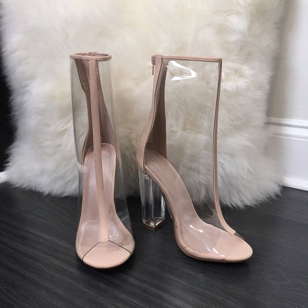 Clear Peep Toe Booties - Diva Boutique Online