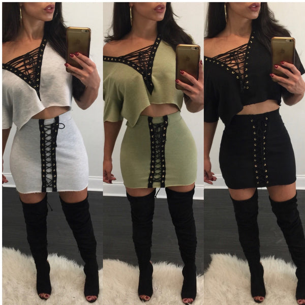 Holly Lace Up Skirt Set - Diva Boutique Online - 1