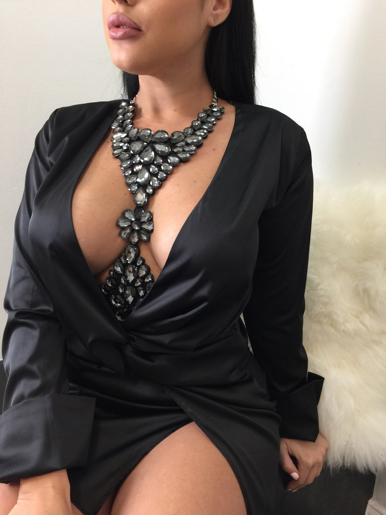 Charcoal Rhinestone Bodychain - Diva Boutique Online