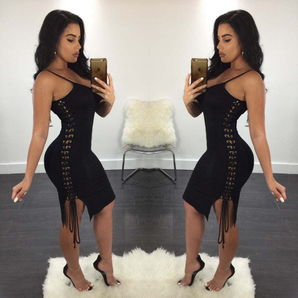 Janice Lace Up Side Midi - Diva Boutique Online