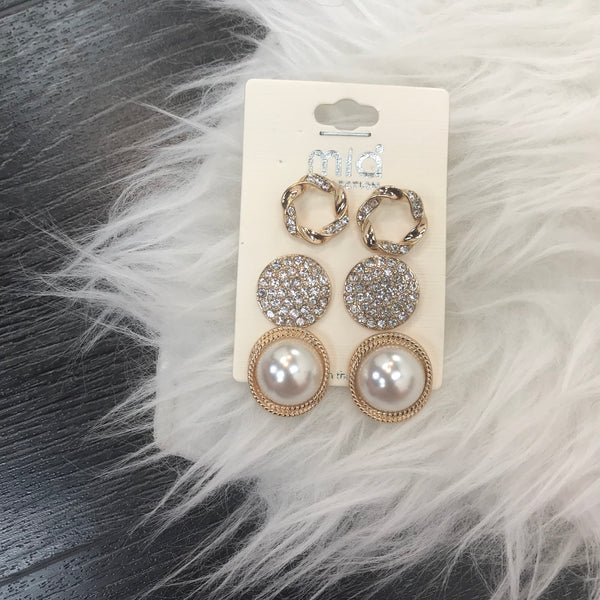 Pearl Diamond Detail Earrings