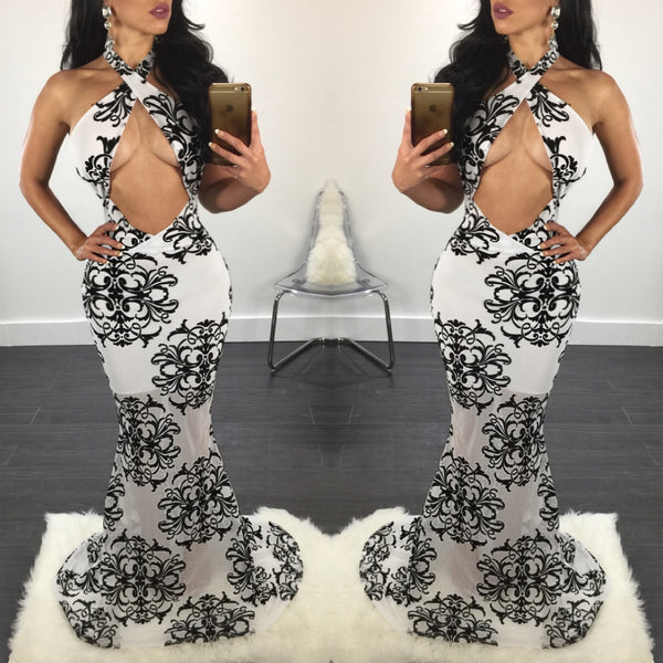 Sasha Black & White Criss Cross Gown - Diva Boutique Online - 1