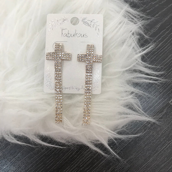 Diamond Cross Detail Earrings