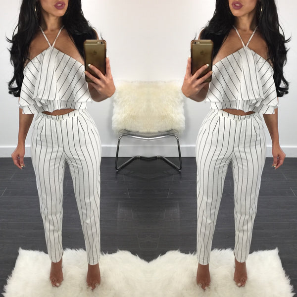 Krystal Striped Pant Set - Diva Boutique Online - 1