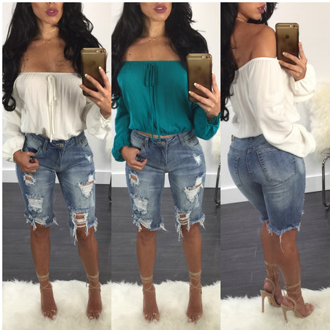 Hannah Off Shoulder Crop Top - Diva Boutique Online