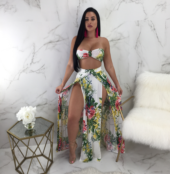 Adelyn Floral Bikini Skirt Set