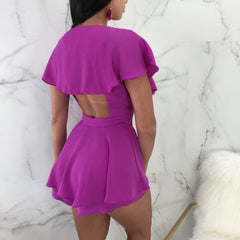 Blanca Purple Flared Romper