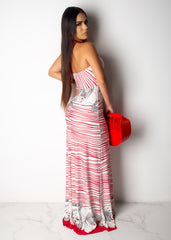 Japanese Flower Striped Maxi Dress