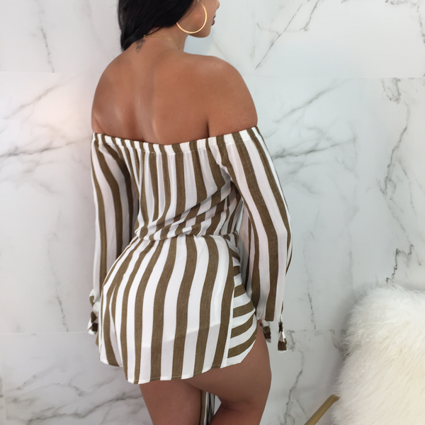 Casey Tie Front Striped Romper