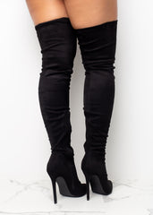 Over The Top Suede Black Boots