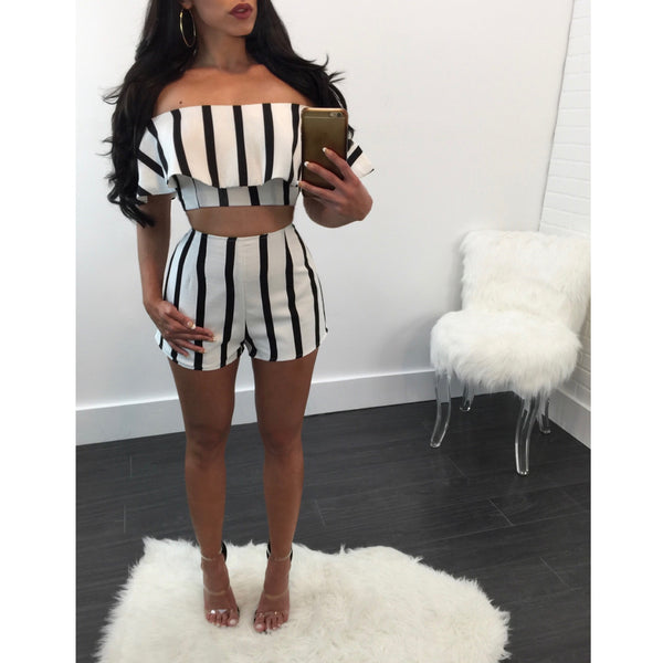 Catherine Striped Ruffle Short Set