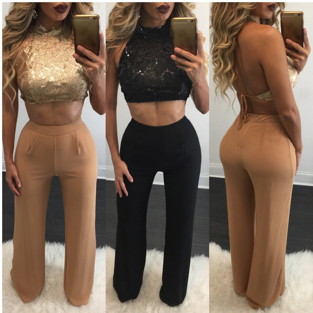 Gracie Sequin Top Pant Set - Diva Boutique Online