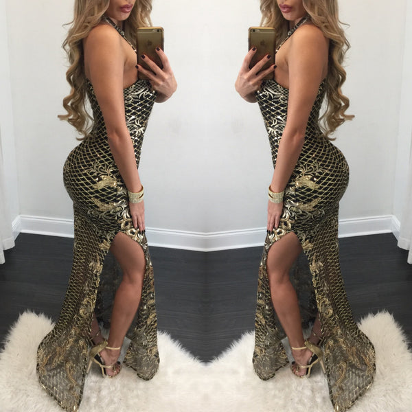 Brie High Neck Sequin Gown - Diva Boutique Online - 2